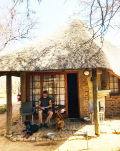 Hessel and the dogs at the chalet