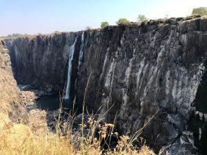The Victoria Falls in Zambia during dry season