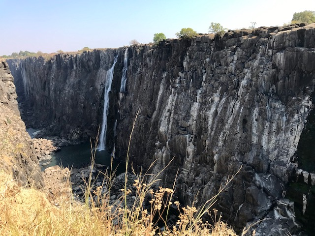 The Victoria Falls in Zambia during dry season