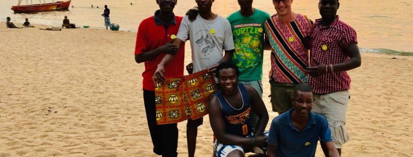 Dilo making friends with the locals at Cape Maclear at Lake Malawi