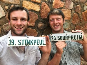 Hessel and Dilo holding South African tree tags