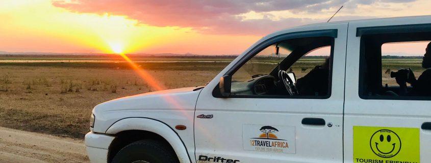 African sunset on safari in Malawi