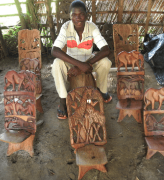 Wood carver in Malawi