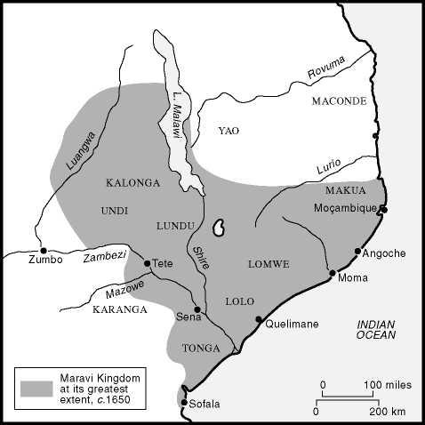 Kaart van het Maravi Koninkrijk
