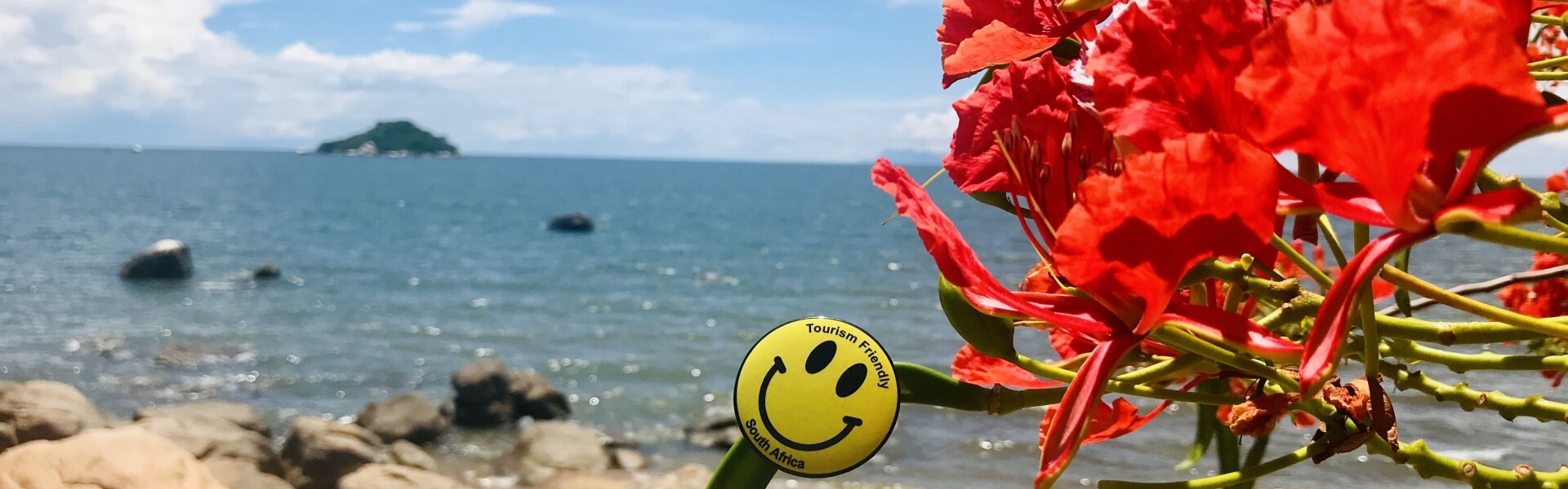 Tourism Friendly logo on flowering plant for Lake Malawi