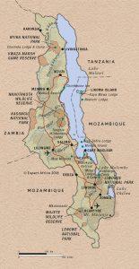 En kaartje van de positie van Lake Malawi in het land