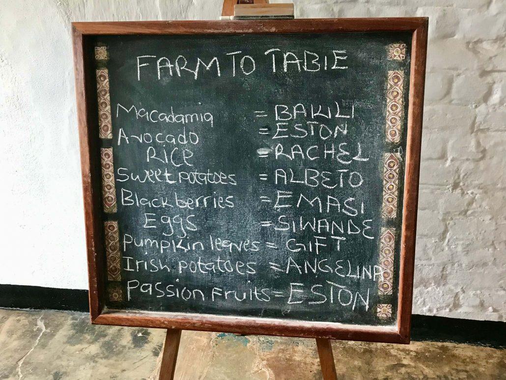 Bord met namen van boeren en hun product